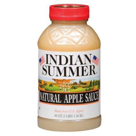 Indian Summer Natural  Applesauce (No Sugar Added) - 48 oz. Plastic Jars - 8 ct.