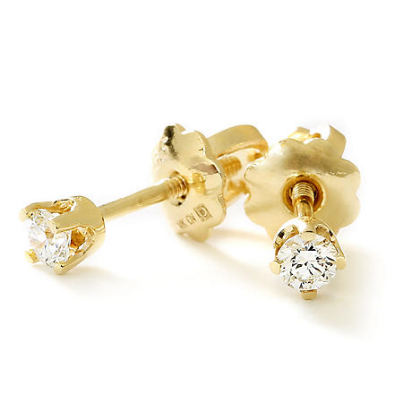 8cc7962c4 Premier Princess 0.10 CT. T.W. Diamond Stud Earrings in 14K Gold ...