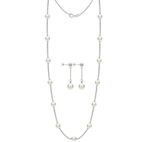 """White Freshwater Cultured Pearl 36"""" Station Necklace and Earring Set"""