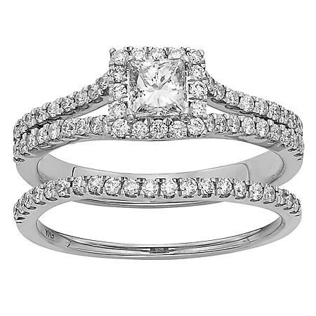 1.0 ct. t.w. Princess Cut Diamond Bridal Set in 14K Gold