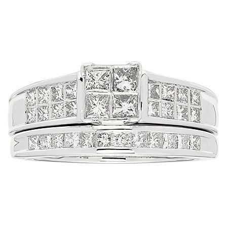 1 CT T.W. Diamond Wedding Ring Set in 14K White Gold