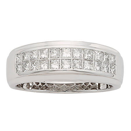 1 CT T.W. Diamond Mens Band in 14K White Gold