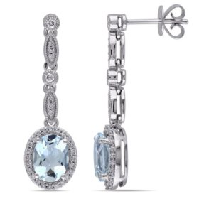 2.12 CT. Aquamarine and Diamond-Accent Vintage Halo Drop Earrings in 14K White Gold