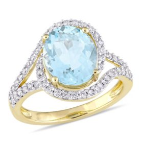 2.77 CT. Aquamarine and Diamond-Accent Halo Swirl Ring in 14K Yellow Gold