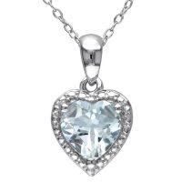 Aquamarine Hearth Halo Pendant in Sterling Silver