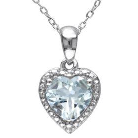 1.5 CT. Aquamarine Hearth Halo Pendant in Sterling Silver