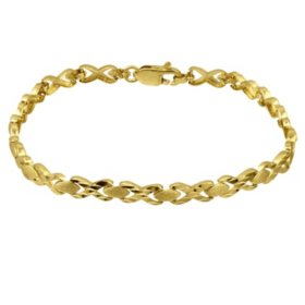 "14K Diamond-Cut ""X"" and ""O"" Bracelet"