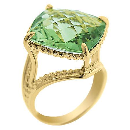 12.0 CT. T.W. Prasiolite Ring in 14K Yellow Gold