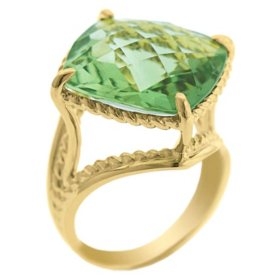 12.0 CT. T.W. Prasiolite Ring in 14K Yellow Gold