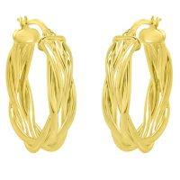 14K Italian Yellow Gold Woven Hoop Earrings