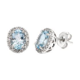 Aquamarine and Diamond Earrings
