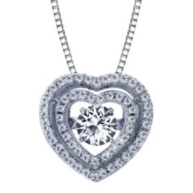 Sterling Silver Dancing White Topaz Heart Pendant with Diamonds