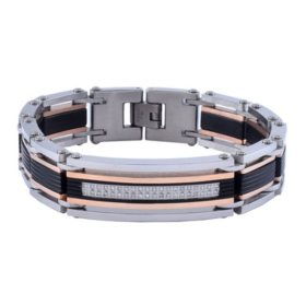 Men's Stainless Steel Two-Tone Diamond Bracelet