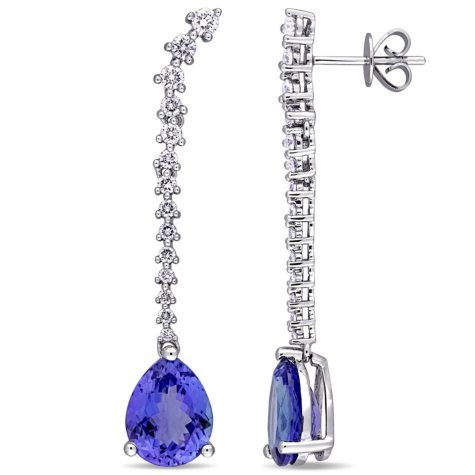 4.80 CT. Tanzanite and 0.75 CT. Diamond Accent Teardrop Earrings in 14K White Gold