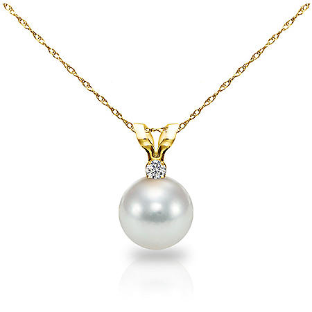 """8-8.5MM Akoya Pearl with .05 ct Diamond Pendant and 18"""" Rope Chain Necklace in 14K Yellow Gold"""