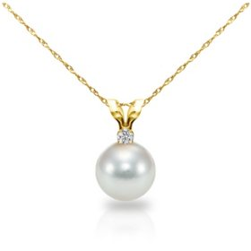 "8-8.5MM Akoya Pearl with .05 ct Diamond Pendant and 18"" Rope Chain Necklace in 14K Yellow Gold"