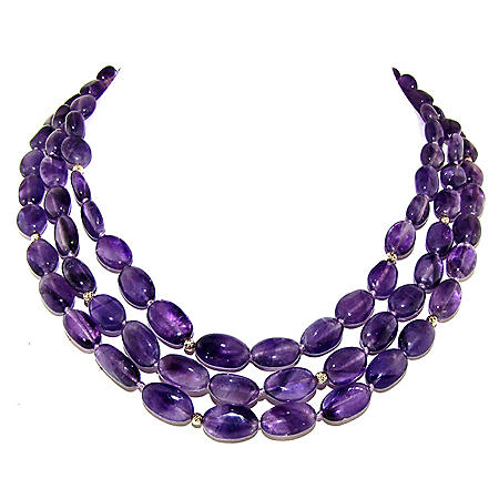 "8-12MM Amethyst with Beads & Ball Clasp 16"" 3-Row Necklace in 14K Yellow Gold"