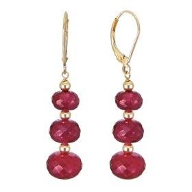7-10MM Graduated Corundum Ruby Earrings in 14K Yellow Gold