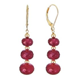 7-10MM Graduated Corundum Ruby Earrings in 14K Yellow Gold
