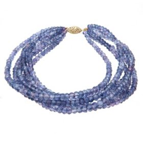"7.25"" 6 Row 3-4MM Tanzanite Bracelet in 14K Yellow Gold"