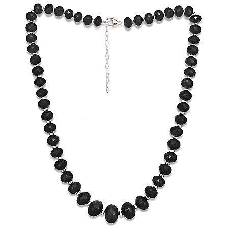 "7-13MM Graduated Spinel 18""+ 2"" Extender Beaded Necklace in Sterling Silver"