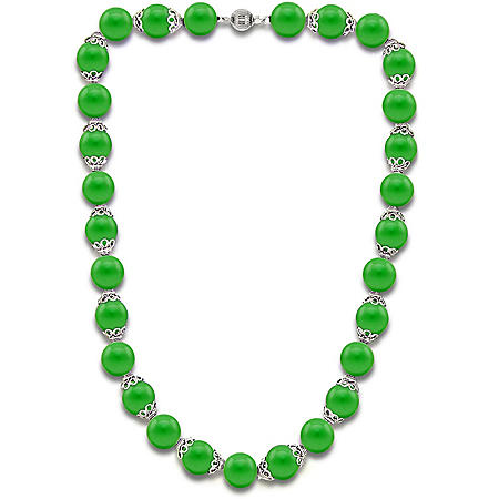 """8MM Green Jade with Fancy Cup and Ball Clasp 18"""" Necklace in Sterling Silver"""