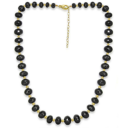 "7-13MM Graduated Spinel 20""+ 2"" Extender Beaded Necklace in 14K Yellow Gold"