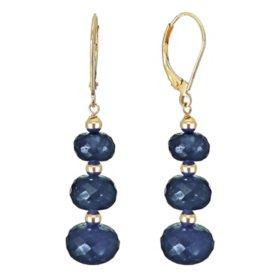 7-10MM Graduated Corundum Sapphire Earrings in 14K Yellow Gold