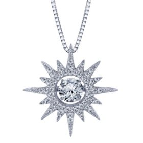 Dancing White Topaz Starburst Pendant with Diamonds in Sterling Silver