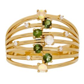 Green Tourmaline and Opal Ring with Diamond Accents in 14K Yellow Gold