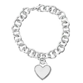 Sterling Silver and Diamond Heart Tag Bracelet