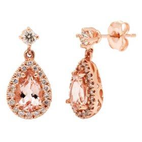 3.00 CT. Morganite and .54 CT. Diamond Drop Earrings in 14K Rose Gold