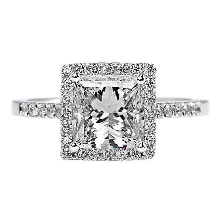 Premier Diamond Collection 2.37 CT. T.W. Princess Cut Diamond Ring with Pave Square Halo in 18K White Gold - GIA & IGI (F, SI2)