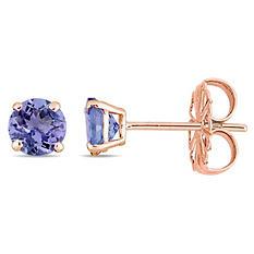 1.08 CT. Tanzanite Solitaire Stud Earrings in 14K Rose Gold