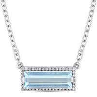 Blue Topaz and White Sapphire Bar Necklace in Sterling Silver