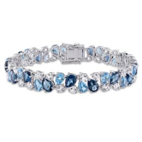 33.3 CT. London and Swiss Blue Topaz with Created White Sapphire Multi-Color Gemstone Bracelet in Sterling Silver