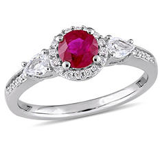 1 CT. Ruby and White Sapphire with Diamond Accent Three Stone Halo Engagement Ring in 14K White Gold