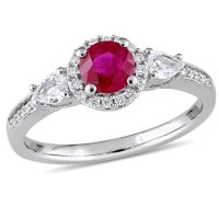 Ruby and White Sapphire with Diamond Accent Three Stone Halo Engagement Ring in 14K White Gold