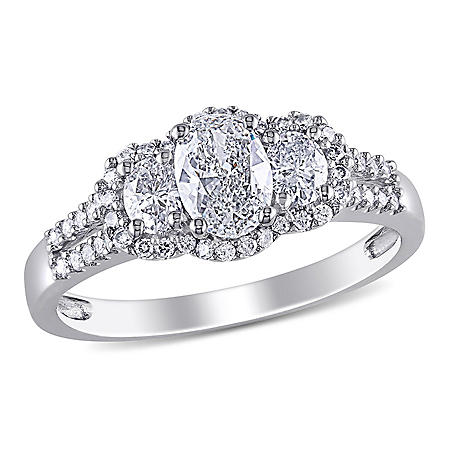 Allura 0.95 CT. T.W. Oval and Round-Cut Diamond Three Stone Halo Engagement Ring in 14k White Gold