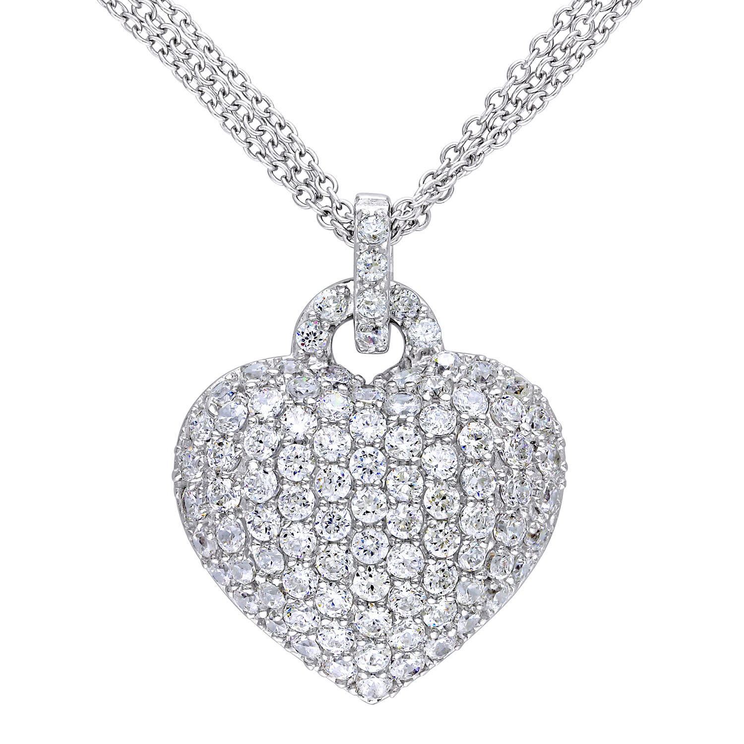 3.47 CT. Created White Sapphire Heart Pendant in Sterling Silver (SAMS01879)