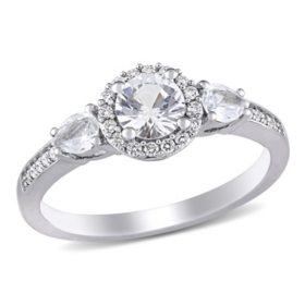 1 CT. White Sapphire and Diamond Accent Three Stone Halo Engagement Ring in 14K White Gold