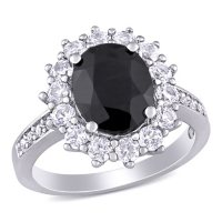 Oval Cut Black Sapphire and Created White Sapphire Halo Ring in Sterling Silver