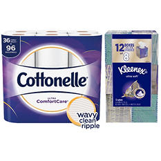 Cottonelle Ultra Comfort Care Giant Roll with Kleenex Anti-Viral 3-Ply Facial Tissue Bundle