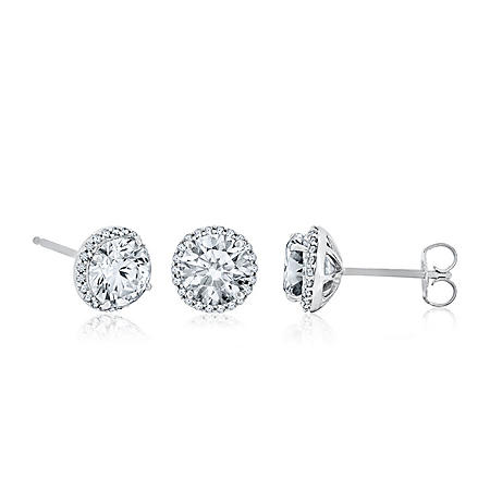 d35ca6468 Created White Sapphire and Diamond Earrings in 14K White Gold ...