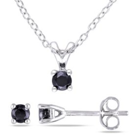 0.5 CT. Black Diamond Solitaire Stud Earrings and Pendant in Sterling Silver