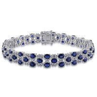 "Allura Blue and White Sapphire Link Bracelet in 14K White Gold, 7.25"""