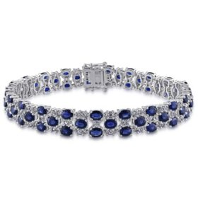 Allura 15.75 CT. Blue and White Sapphire Link Bracelet in 14K White Gold