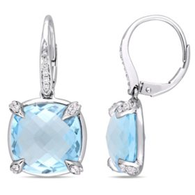 18.2 CT. Blue Topaz and White Sapphire with Diamond-Accent Dangle Earrings in 14K White Gold