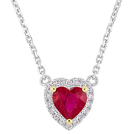 0.44 CT. Ruby with Diamond-Accent Halo Heart Necklace in 14K White Gold