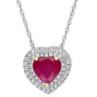 Allura Ruby and 0.22 CT. Diamond Double Halo Heart Pendant in 14K White Gold